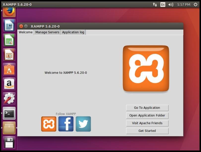 Installation-XAMPP-Stack-PHP-Apache-web-server-MySQL-database-Perl-famework-installs-Apache-environment-Ubuntu-application-XAMPP-Welcome-tab