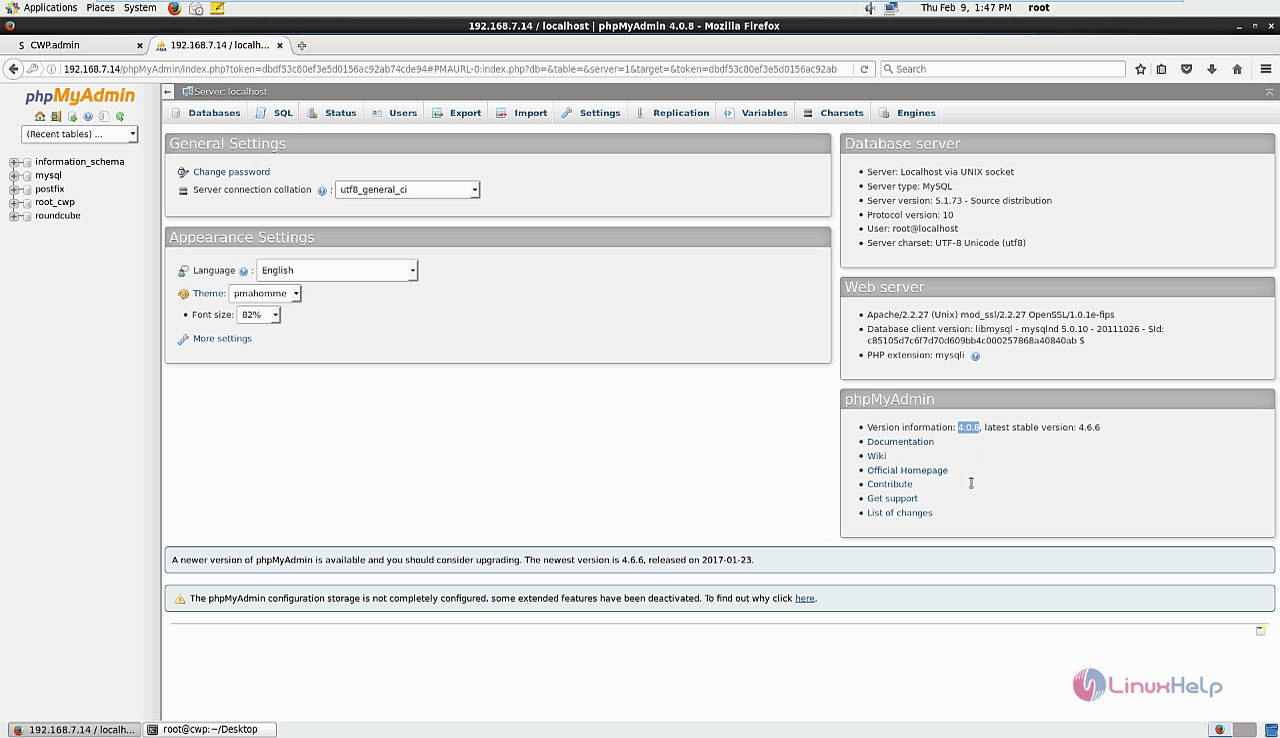 How to Update MySql and phpMyAdmin in Centos Web Panel | LinuxHelp ...