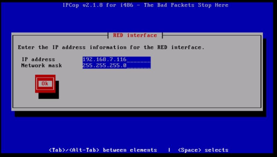 Installation-IPCop-manages-firewall-appliance-Linux-net-filter-framework-Set-ip-network-mask-RED-interface