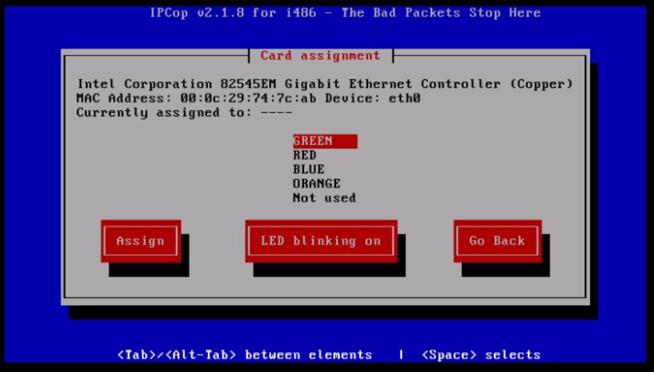 Installation-IPCop-manages-firewall-appliance-Linux-net-filter-framework-Select-interface-type-assign