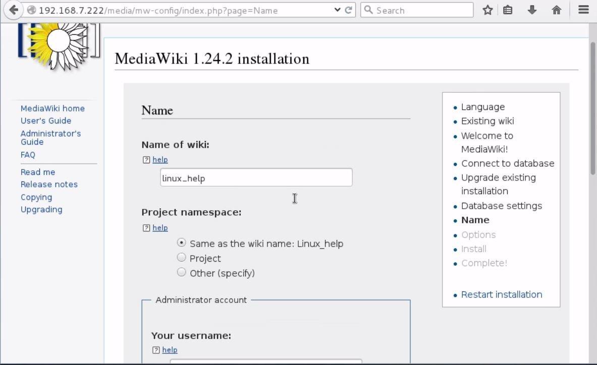 install-Mediawiki-Centos7-wiki-application-Installation-fields