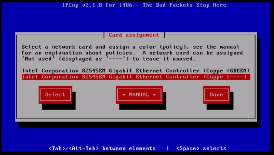 Installation-IPCop-manages-firewall-appliance-Linux-net-filter-framework-select-another-interface