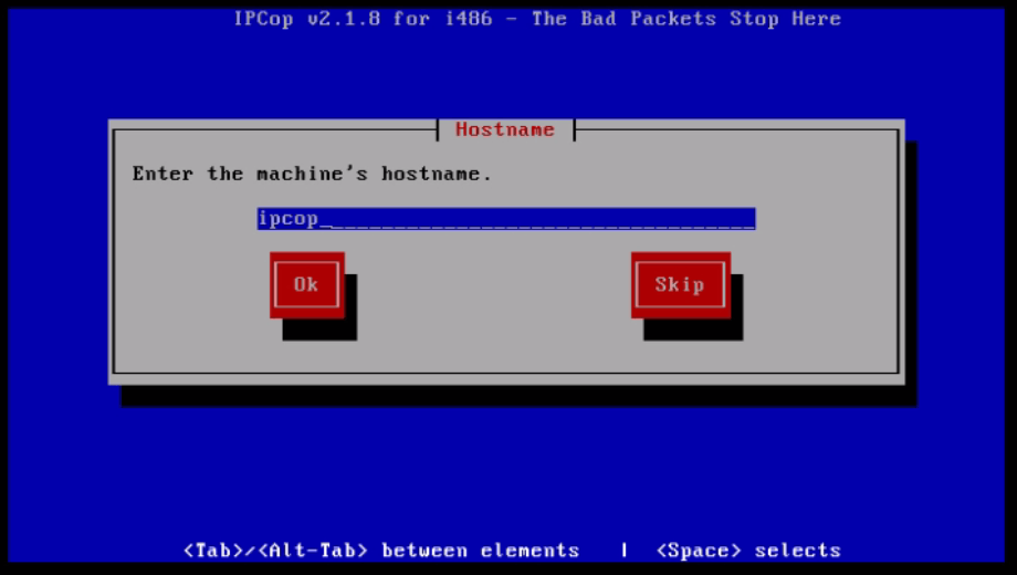 Installation-IPCop-manages-firewall-appliance-Linux-net-filter-framework-Set-host-name