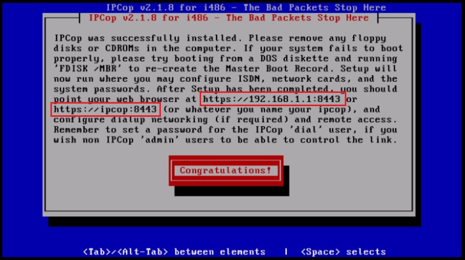 Installation-IPCop-manages-firewall-appliance-Linux-net-filter-framework-congratulations