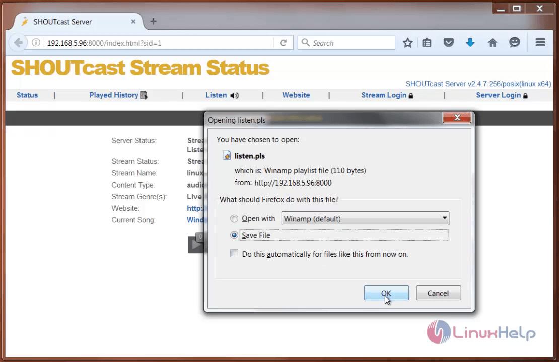 SHOUTcast stream status