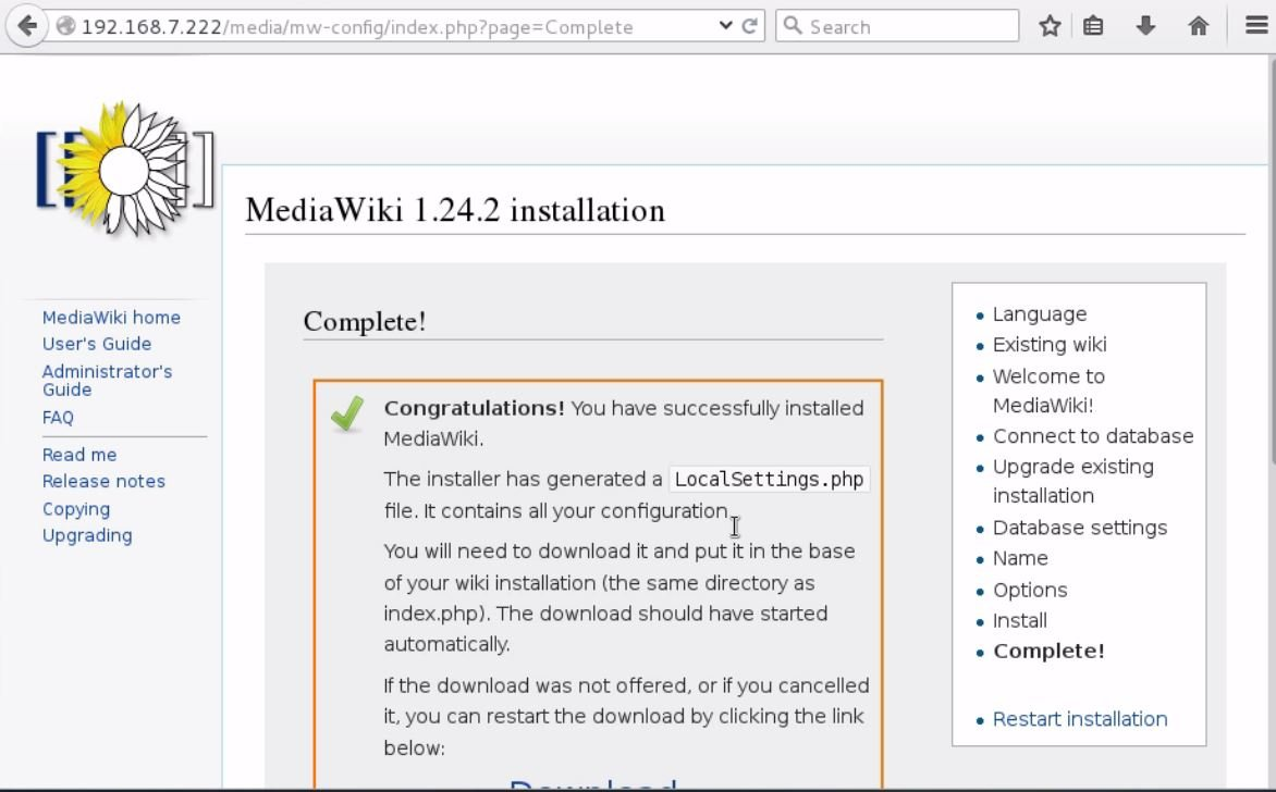 install-Mediawiki-Centos7-wiki-application-installed-LocalSetting.php-file