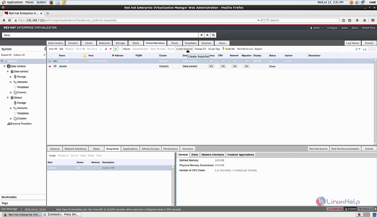 How to create Snapshot and Template - RHEV | LinuxHelp Tutorials