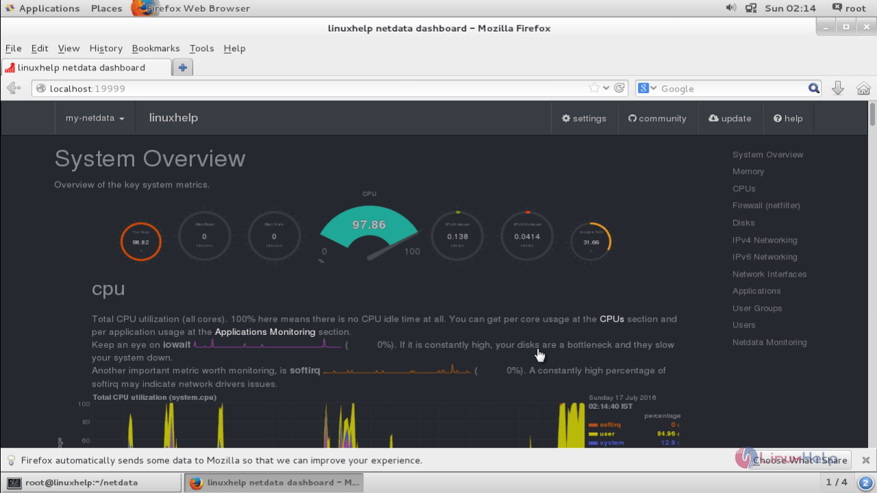 Installation-Netdata-performance-monitoring tool-monitor-system-performance-centos7-Overview-of-system-performance