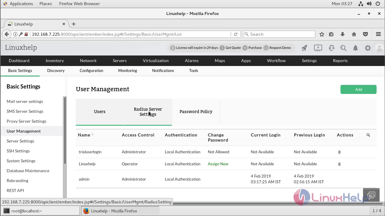 How to configure Users management and Mail Server Settings