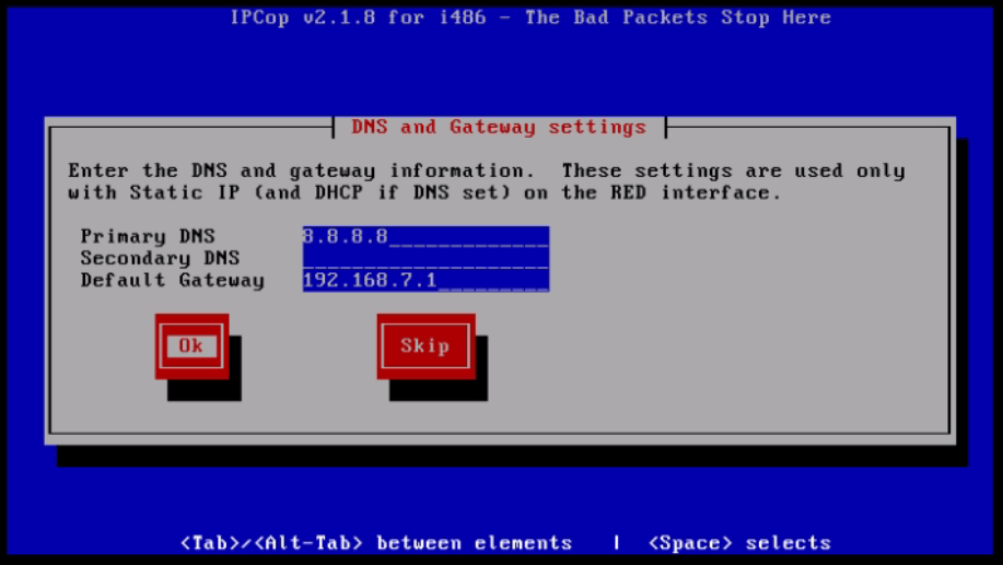 Installation-IPCop-manages-firewall-appliance-Linux-net-filter-framework-Set-primary-DNS-Gateway-settings