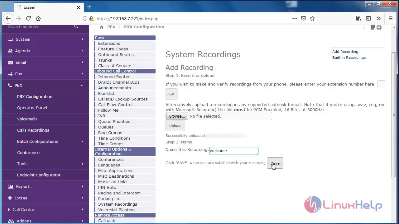 How to configure System Recordings on issabel | LinuxHelp