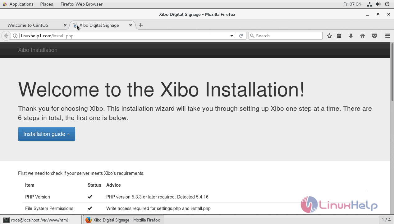 How to install Xibo CMS 1 7 7 on CentOS 7 | LinuxHelp Tutorials