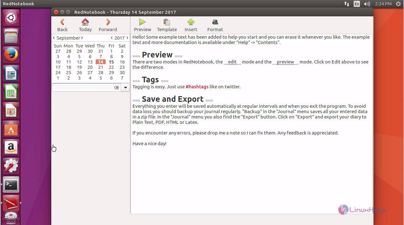 foto de How to install RedNotebook on Ubuntu 17.04 | LinuxHelp Tutorials