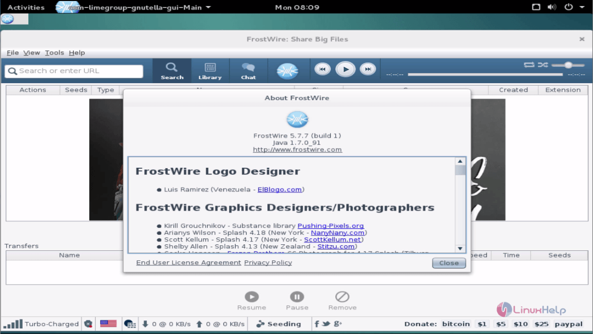 How to install FrostWire 5 7 7 on Debian 8 3 | LinuxHelp