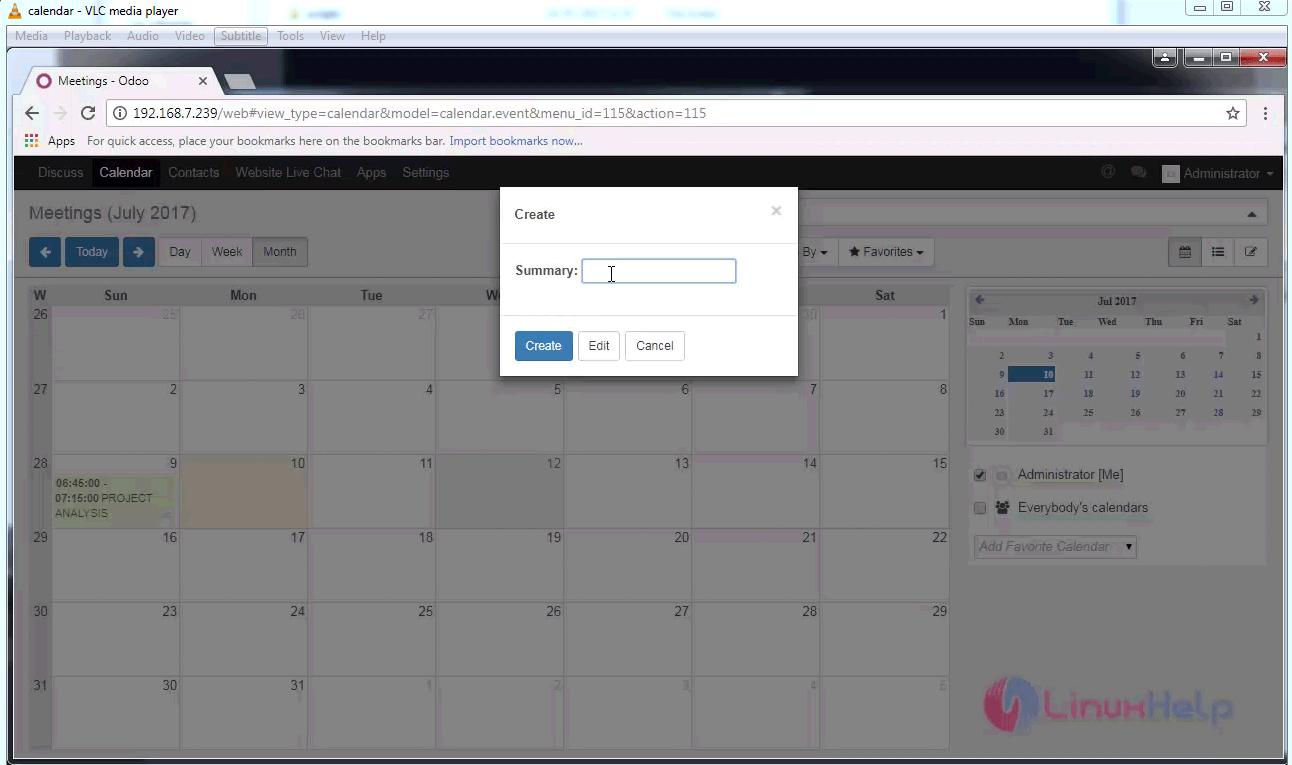 How to use Calendar on Odoo | LinuxHelp Tutorials