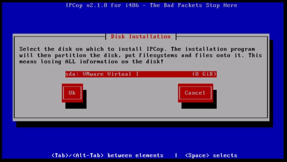 Installation-IPCop-manages-firewall-appliance-Linux-net-filter-framework-Select-disk