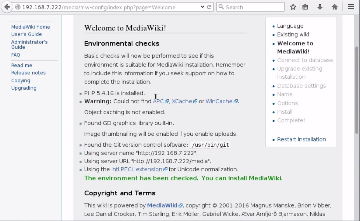 install-Mediawiki-Centos7-wiki-application-Welcome-screen